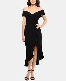 XSCAPE Off-The-Shoulder Midi Dress