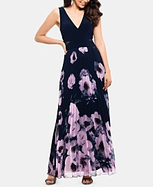 XSCAPE Petite Floral-Print Illusion-Cutout Gown