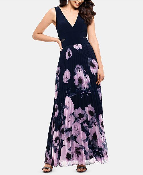XSCAPE Petite Floral-Print Illusion-Cutout Gown