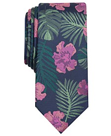 Bar III Men's Hibiscus Skinny Floral Tie, Created for Macy's