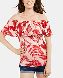 A Pea In The Pod Maternity Printed Off-The-Shoulder Blouse
