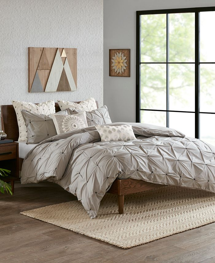 INK+IVY - INK+IVY Masie King/Cal King 3 Piece Elastic Embroidered Cotton Duvet Cover Set
