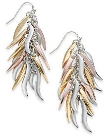Thalia Sodi Tri-Tone Metallic Feather Linear Earrings, Created for Macy's