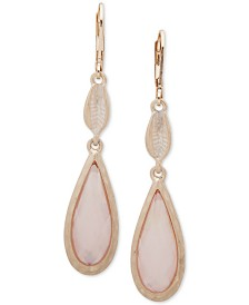 lonna & lilly Gold-Tone Pink Shell Double Drop Earrings
