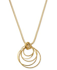 "Thalia Sodi Gold-Tone Multi-Circle Pendant Necklace, 32"" + 3"" extender, Created for Macy's"