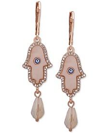 lonna & lilly Gold-Tone Hamsa Hand Double Drop Earrings