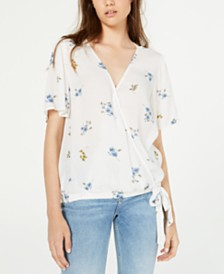 Hippie Rose Juniors' Printed Surplice Top