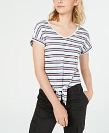 Hippie Rose Juniors' Tie-Front T-Shirt