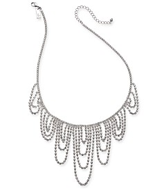 """I.N.C. Silver-Tone Crystal Chain Dripping Statement Necklace, 17"""" + 3"""" extender, Created for Macy's"""