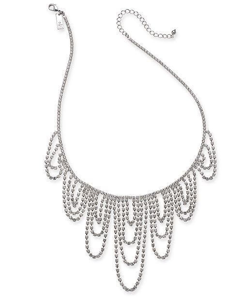 """INC International Concepts INC Silver-Tone Crystal Chain Dripping Statement Necklace, 17"""" + 3"""" extender, Created for Macy's"""