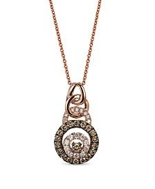 "Le Vian® Diamond 18"" Pendant Necklace (1/4 ct. t.w.) in 14k Rose Gold"