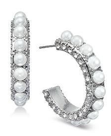 I.N.C. Silver-Tone Crystal & Imitation Pearl Hoop Earrings, Created for Macys