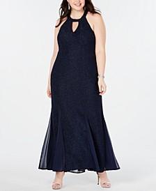 Plus Size Keyhole Halter Gown