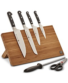 Zwilling J.A. Henckels Pro Knife & Bamboo Magnetic Easel Block 7-Pc. Set