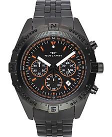 Tavan Between Wind & Water Men's Chronograph Watch Black Bracelet, Black Dial, Orange Accents, 48mm
