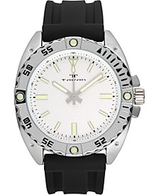 Anchor Sentinel Men's Watch Black Silicone Strap, Silver Case, White Dial, 47mm