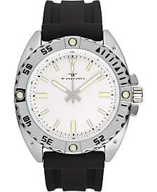 Tavan Anchor Sentinel Men's Watch Black Silicone Strap, Silver Case, White Dial, 47mm