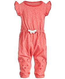First Impressions Baby Girls Bear Face Jumpsuit, Created for Macy's