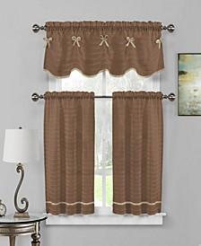 Carlee 3-Piece Bow Trim Kitchen Curtain Set