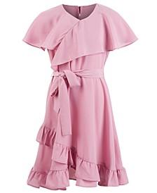 Big Girls Challi Faux-Wrap Ruffled Dress