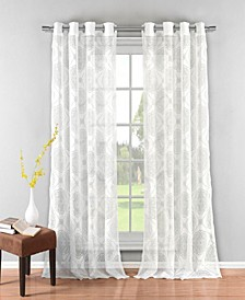 "Kennellia 38"" x 84"" Medallion Print Sheer Curtain Set"