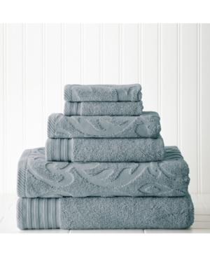 6 Piece Jacquard, Solid Towel Set-Medallion Swirl Bedding
