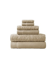 6 Piece Jacquard Solid Towel Set Leaf Swirl