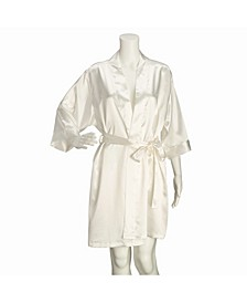 Ivory Satin Bride Robe S/M