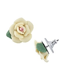 2028 Silver-Tone Large Porcelain Rose Earrings