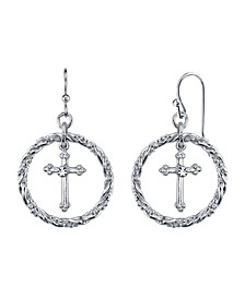 Silver Tone Suspended Cross Hoop Drop Earrings
