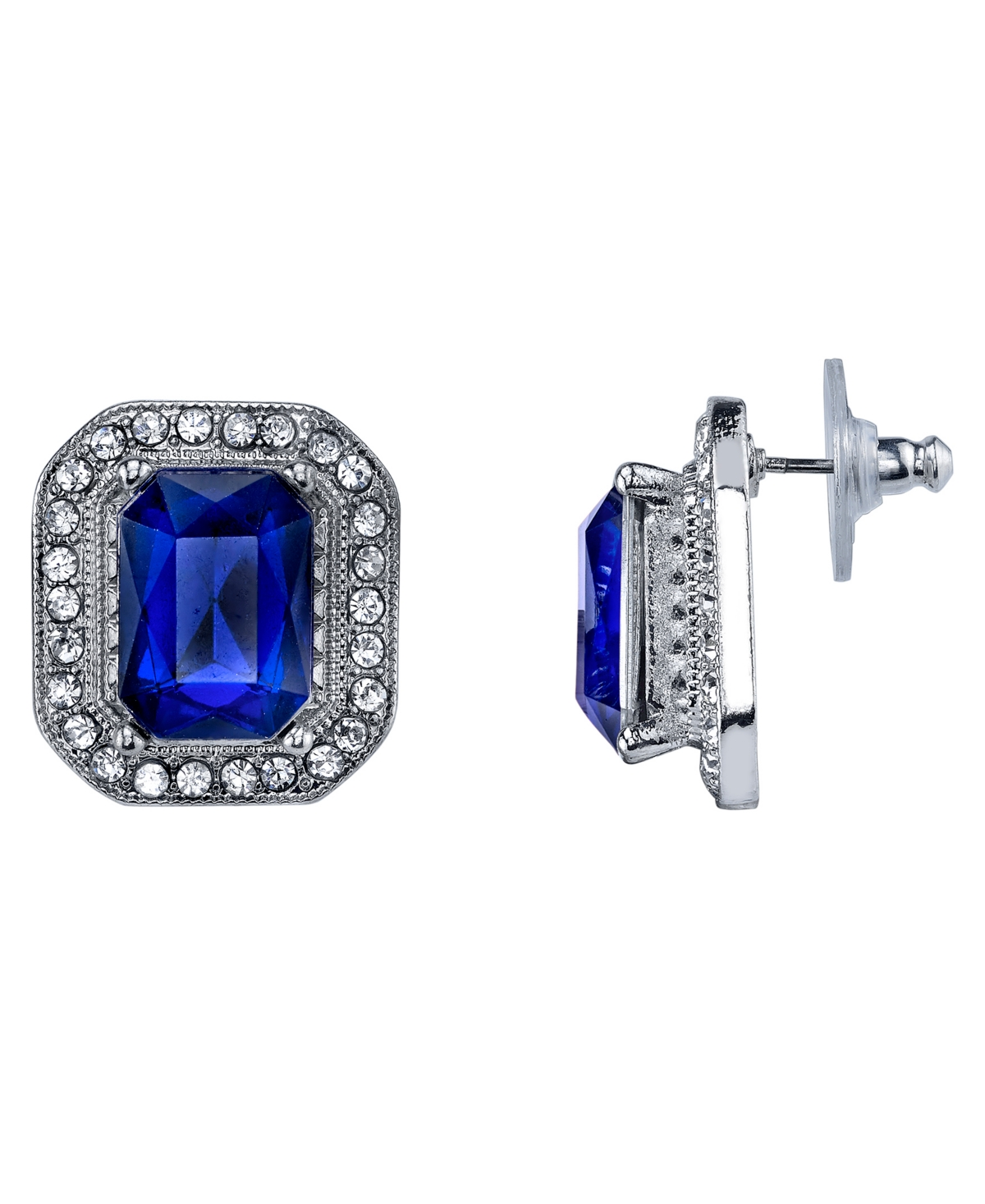 2028 Silver-Tone Dark Blue Stone and Crystal Octagon Button Earrings
