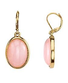 14K Gold-Dipped Semi-Precious Rose Quartz Pink Oval Drop Earrings
