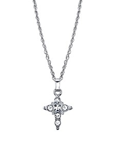 "Silver Tone Crystal Cross Pendant Necklace 16"" Adjustable"