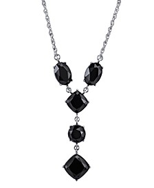 "Silver-Tone Black Faceted Y-Necklace 16"" Adjustable"