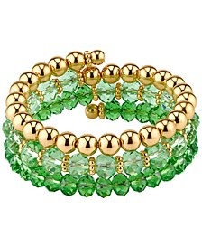 Gold-Tone Period Green Color Beaded Coil Bracelet