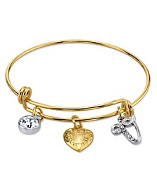 14K Gold-Dipped Heart and Initial Crystal Charm Bracelet