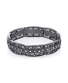 2028 Black-Tone Hematite Stretch Bracelet