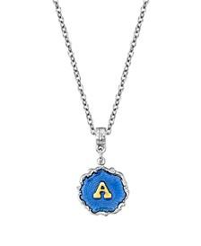 "Silver Tone Blue Enamel Gold Tone Initial Necklace 16"" Adjustable"