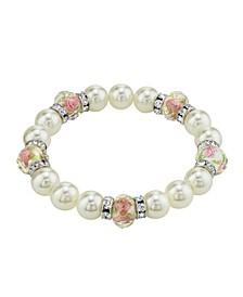 Silver Tone Faux Pearl Pink Flower Beaded Stretch Bracelet