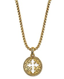 """14K Gold-Dipped Coin Cross Necklace 20"""""""