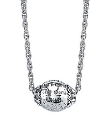 Symbols of Faith Silver-Tone Hail Mary Prayer Bead Necklace 18""
