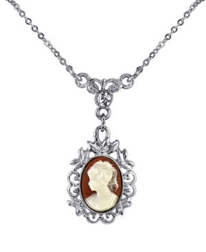 """Silver-Tone Oval Cameo with Crystal Drop Necklace 16"""" Adjustable"""
