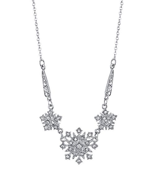 "Downton Abbey Silver-Tone Crystal Belle Epoch Starburst Statement Necklace 16"" Adjustable"