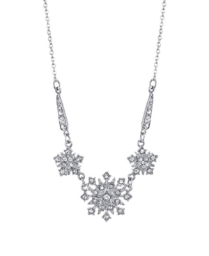 "Silver-Tone Crystal Belle Epoch Starburst Statement Necklace 16"" Adjustable"