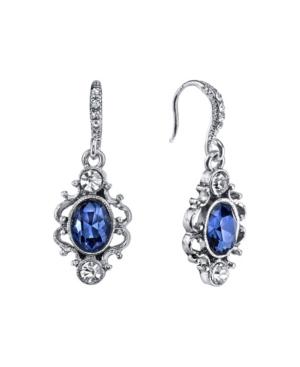 Silver-Tone Blue Crystal Oval Drop Earrings