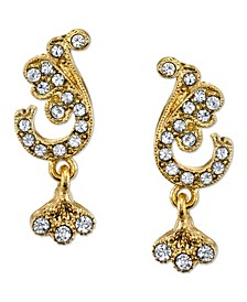 Gold-Tone Crystal Pave French Scroll Leaf Post Earrings