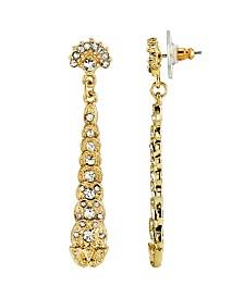 Downton Abbey Gold-Tone Crystal Linear Post Drop Earrings
