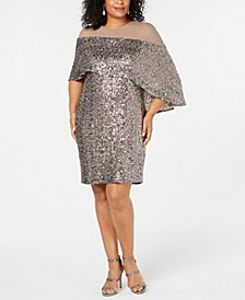 Plus Size Sequin Overlay Dress