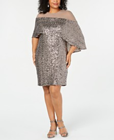 Betsy & Adam Plus Size Sequin Overlay Dress