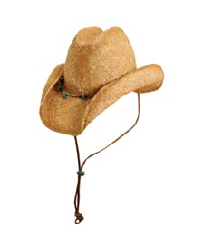 Scala Raffia Western Hat with Turquoise Trim